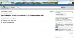 Imagen 1: articulo SRAS sin resumen en Pubmed